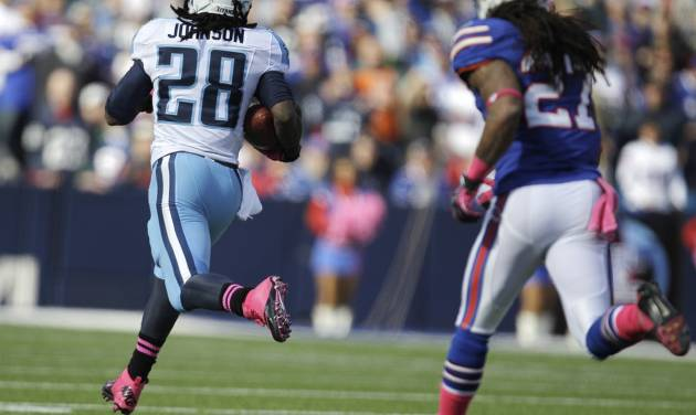 Tennessee Titans running back Chris Johnson (28) runs for a touchdown against Buffalo Bills' Stephon Gilmore (27) during the first half of an NFL football game in Orchard Park, N.Y., Sunday, Oct. 21, 2012. (AP Photo/Gary Wiepert)