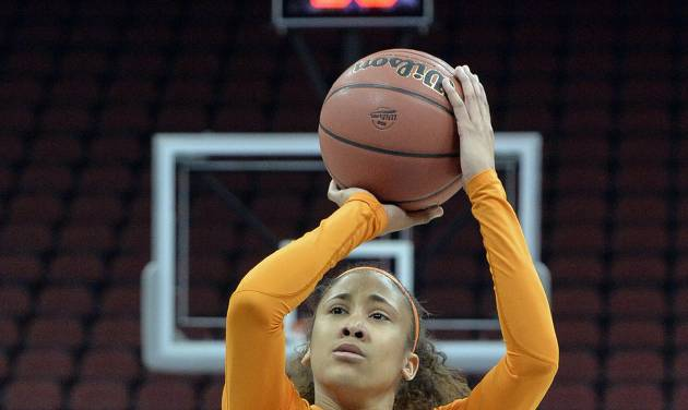 Tennessee's Meighan Simmons shoots during practice at the NCAA college basketball tournament in Louisville, Ky., Saturday, March 29, 2014. Tennessee plays Maryland in a regional semifinal on Sunday.  (AP Photo/Timothy D. Easley)