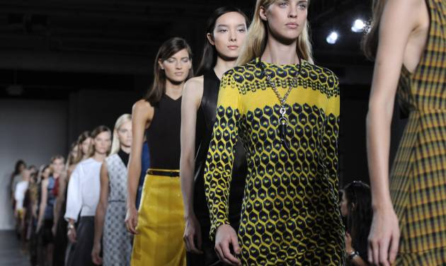 The Derek Lam Spring, 2013 collection is modeled during Fashion Week, Sunday, Sept. 9, 2012, in New York. (AP Photo/Louis Lanzano)