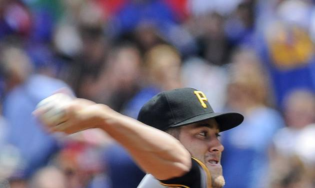 Pittsburgh Pirates starting pitcher Brandon Cumpton delivers during the first inning of a baseball game against the Chicago Cubs on Sunday, June 22, 2014, in Chicago. (AP Photo/Matt Marton)
