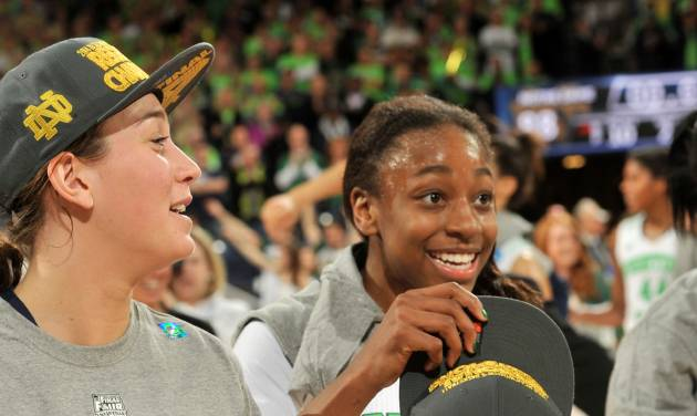 Notre Dame guards Jewell Loyd, right, and Michaela Mabrey celebrate their win over Baylor in a NCAA women's college basketball tournament regional final game at the Purcell Pavilion in South Bend, Ind Monday March 31, 2014. Notre Dame won 88-69. (AP Photo/Joe Raymond)