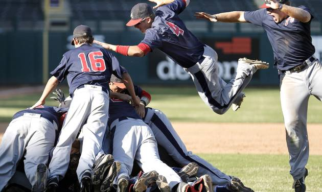 Asher celebrates their win during the Class B fall baseball state championship game between Asher and Leedey at the Chickasaw Bricktown Ballpark,  Saturday, Oct. 12, 2013, in Oklahoma City. Photo by Sarah Phipps, The Oklahoman