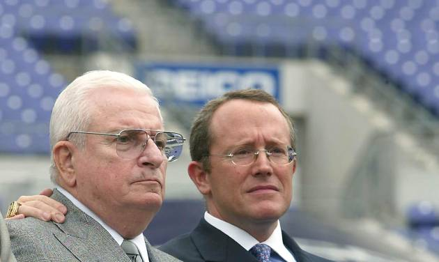 """FILE - This May 6, 2003 file photo shows Baltimore Ravens owner Art Modell, left, and team President David Modell, sitting together at a news conference at the newly named M&T Bank Stadium in Baltimore, Md. One of the most influential owners in the history of the NFL, Art Modell helped mold the foundation of the league. The innovative Modell, whose reputation was forever tainted when he moved his franchise from Cleveland to Baltimore, died early Thursday, Sept. 6, 2012. He was 87. David Modell said he and his brother, John, were at their father's side when he """"died peacefully of natural causes."""" (AP Photo/ Matt Houston, File)"""