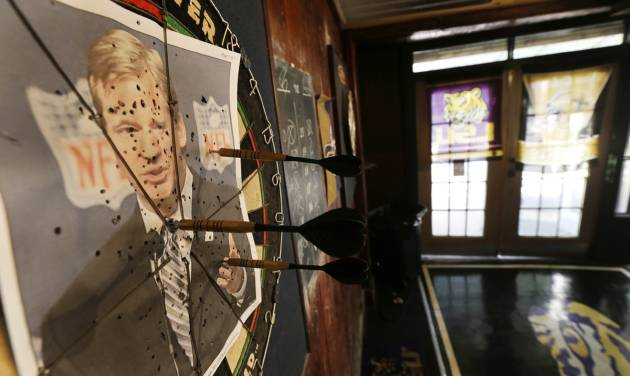 "A photo of NFL commissioner Roger Goodell is seen on a dartboard inside the Parkview Tavern in New Orleans, Friday, Jan. 25, 2013. New Orleans is celebrating the return of coach Sean Payton after a season's NFL banishment as a result of the ""Bountygate"" scandal. But the good feeling does not extend to Goodell, who suspended Payton and other key players and coaches last year in the alleged pay-for-pain scheme. He is being ridiculed here with a vehemence usually reserved for the city's multitude of scandal-scarred politicians.(AP Photo/Gerald Herbert)"