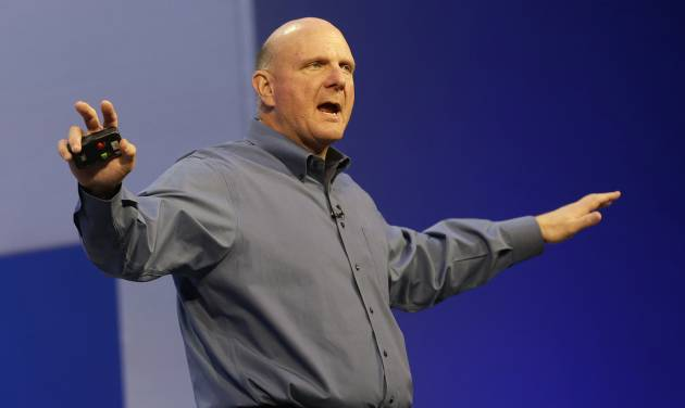 FILE - Microsoft CEO Steve Ballmer speaks at a Microsoft event in San Francisco, Wednesday, June 26, 2013. Ballmer, who helped build Microsoft into a technology empire and then struggled to prevent it from crumbling under his own leadership, will retire within the next 12 months. The world's biggest software company did not name a successor. Microsoft Corp.'s stock shot up 9 percent in premarket trading following the news.  (AP Photo/Jeff Chiu, File)