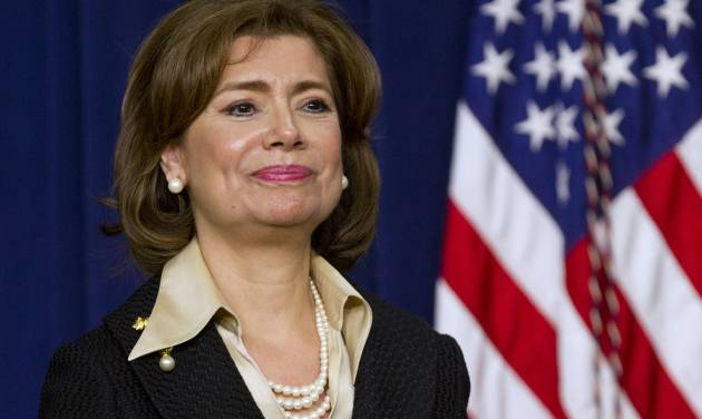 FILE - In this Wednesday, Jan. 15, 2014, file photo, Maria Contreras-Sweet, founder and board chairman of a Latino-owned community bank in Los Angeles, listens as President Barack Obama announces he will nominate her to head of the Small Business Administration (SBA), in Washington. If confirmed by the Senate, Contreras-Sweet will succeed Karen Mills, who won widespread approval for increasing aid to small businesses during and after the recession. But Mills was also criticized by Republicans in the House for spending on lending programs that didn't appear to be helping in job creation. (AP Photo/Jacquelyn Martin, File)