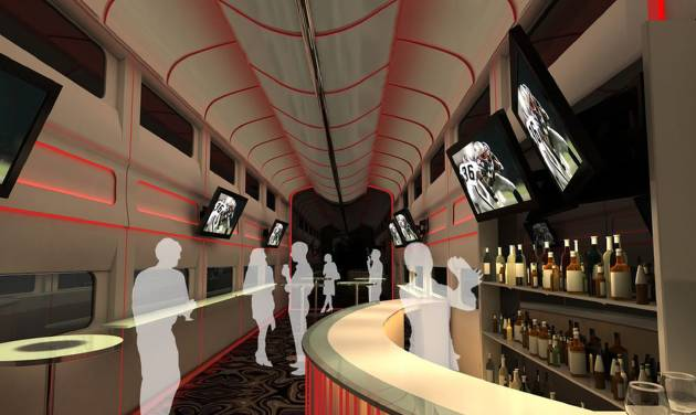 "This undated artistic rendering provided by Las Vegas Railway Express shows the interior of the X Train, a proposed luxury ""party train"" that would run from Fullerton, Calif., to downtown Las Vegas. For $99 each way, passengers would get food, drinks, access to two on-board ""ultra lounges"" and other amenities. The company signed an agreement last week with Union Pacific Railroad allowing them to use a set of tracks that leads to downtown Las Vegas but hasn't seen passenger traffic in 15 years."" (AP Photo/Las Vegas Railway Express)"