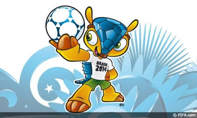 This image posted on the FIFA website Sunday Sept. 16, 2012 shows the mascot of the 2014 World Cup. The mascot is a yet to-be-named Brazilian endangered armadillo. FIFA said Brazilians will have until mid-November to choose the mascot's name from three choices - Amijubi, Fuleco and Zuzeco. The mascot's announcement was made Sunday on a television show with the participation of former Brazil star Ronaldo.(AP Photo/FIFA)
