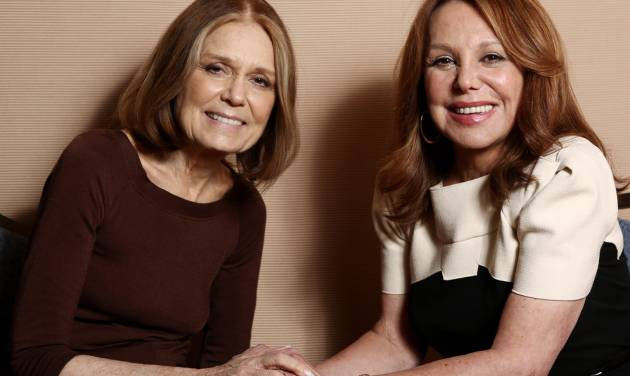"In this Tuesday, Jan. 15, 2013 photo, Gloria Steinem, left, and Marlo Thomas, from the program ""Makers: Women Who Make America,"" pose together for a portrait during the PBS Winter TCA Tour at the Langham Huntington Hotel, in Pasadena, Calif. ""Makers: Women Who Make America,"" a three-hour PBS documentary about the fight for women's equality, airs Tuesday, Feb. 26, 2013, and features prominent activists including Steinem and Thomas. (Photo by Matt Sayles/Invision/AP)"