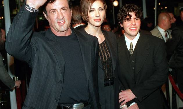 "FILE - In this Dec. 5, 1996 file photo, Sylvester Stallone, left, star of the film ""Daylight,"" arrives at the film's world premiere with his girlfriend Jennifer Flavin, center, and his son Sage Stallone, who co-stars in the film, in Hollywood district of Los Angeles. A publicist for Sylvester Stallone says the actor's son, Sage Stallone has died on Friday, July 13, 2012, at age 36. (AP Photo/Kevork Djansezian, File)"