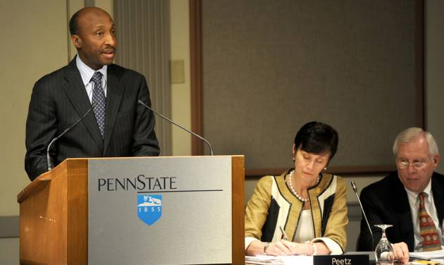 Kenneth Frazier, chairman of the Penn State Board of Trustees investigative task force, gives an update on the sexual abuse allegations to the Penn State Board of Trustees, Friday, May 4, 2012 in State College, Pa. Penn State alumni elected three new members to the university board of trustees, including a well-known former football player who recovered from a spinal cord injury and a businessman who has criticized the board's actions after Jerry Sandusky's arrest in a child sex-abuse scandal. (AP Photo/Centre Daily Times, Christopher Weddle) MANDATORY CREDIT; MAGS OUT