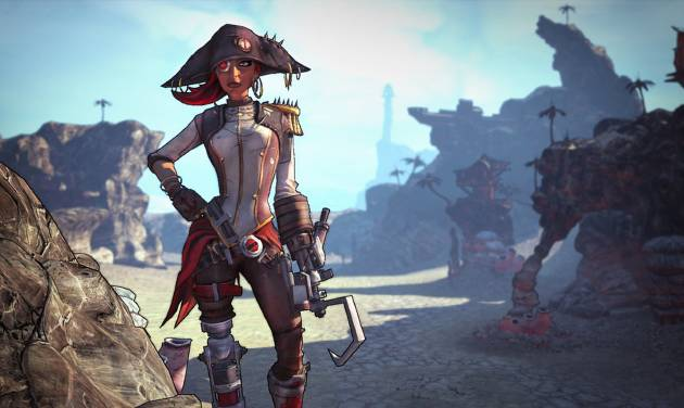 "This undated publicity image released by 2K Games shows ""Captain Scarlett and Her Pirate's Booty"" downloadable content in the video game, ""Borderlands 2."" The pirate-themed add-on campaign is setting sail Tuesday, Oct. 16, 2012, for the Gearbox Software shoot-and-loot sequel released by 2K Games last month. The downloadable content focuses on the one-eyed pirate queen Captain Scarlett and is set amid an expansive desert that features a bandit-filled shanty town called Oasis. (AP Photo/2K Games)"
