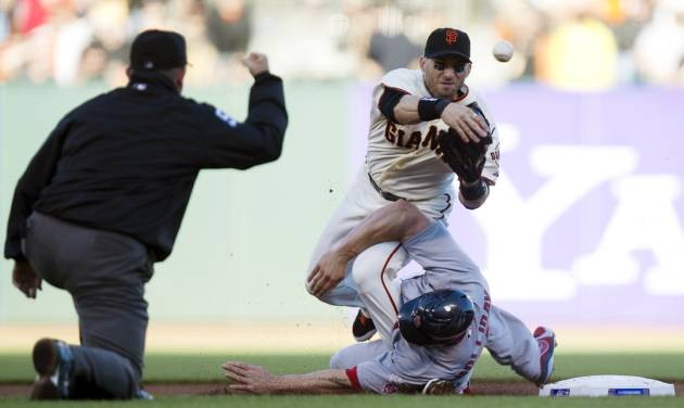 San Francisco Giants second baseman Marco Scutaro (19) throws to first as he is taken out by St. Louis Cardinals' Matt Holliday (7) during Game 2 of baseball's National League championship series, Monday, Oct. 15, 2012, in San Francisco. (AP Photo/The Sacramento Bee, Paul Kitagaki Jr.) MAGS OUT; LOCAL TV OUT (KCRA3, KXTV10, KOVR13, KUVS19, KMAZ31, KTXL40); MANDATORY CREDIT