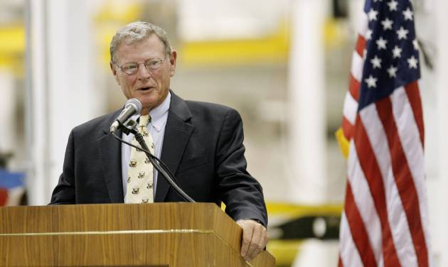 Senator Jim Inhofe speaking during an open house for Building 9001 in the Tinker Aerospace Complex, formerly the General Motors plant, in Oklahoma City Monday, August 17, 2009. Photo by Paul B. Southerland, The Oklahoman