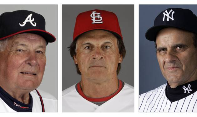 FILE - From left are Atlanta Braves manager Bobby Cox in 2010, St. Louis Cardinals manager Tony La Russa in 2011 and New York Yankees manager Joe Torre in 2007. Retired managers Cox, La Russa and Torre will join holdovers George Steinbrenner and Marvin Miller on the Hall of Fame expansion era committee ballot next month. (AP Photo/File)