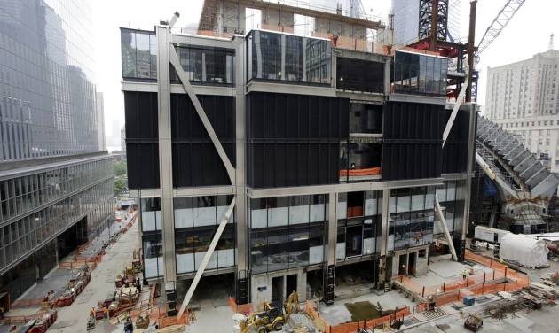 In this June 12, 2014 photo, work has come to a standstill on 3 World Trade Center in New York. Developer Larry Silverstein and the Port Authority are negotiating a $1.2 billion loan that would fund continued construction on the planned 80-story building. (AP Photo/Mark Lennihan)