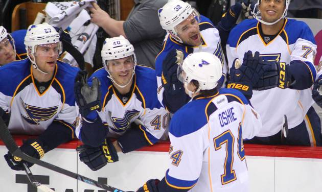 St. Louis Blues right wing T.J. Oshie (74) is congratulated by the bench after scoring on Minnesota Wild goalie Ilya Bryzgalov (30) in the shoot out during their NHL hockey game Sunday, March 9, 2014 in St. Paul, Minn.. The Blues defeated the Wild 3-2 in a shootout.(AP Photo/Andy Clayton-King)