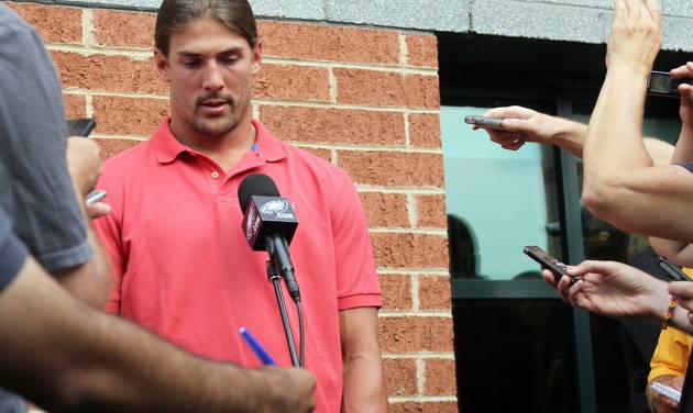 """Philadelphia Eagles wide receiver Riley Cooper meets with the media at NFL football training camp on Wednesday, July 31, 2013, in Philadelphia. Cooper has been fined by the team for making a racial slur at a Kenny Chesney concert that was caught on video, leading him to say he's """"ashamed and disgusted"""" with himself. (AP Photo/Philadelphia Daily News, Yong Kim) THE EVENING BULLETIN OUT, TV OUT; MAGS OUT; NO SALES"""
