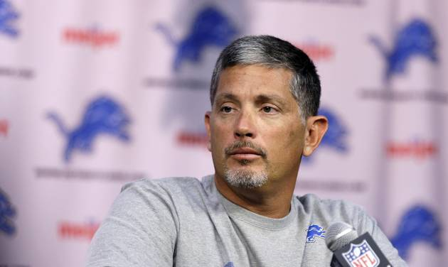 Detroit Lions head coach Jim Schwartz addresses the media during a news conference at their training facility in Allen Park, Mich., Thursday, July 25, 2013. The Lions are reported to training camp Thursday, facing more pressure to win than usual because they seem to have the pieces to be a success after an eight-game slide turned last year's promising season into a 4-12 flop. (AP Photo/Carlos Osorio)