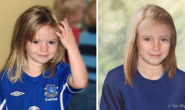 """Composite photos showing three-year-old Madeine McCann, left, with a computer generated age progression image of the missing child as she might look now, right, issued Thursday July 4, 2013. British police say Thursday July 4, 2013 they have launched a full investigation into the disappearance of Madeleine McCann, and want to trace 38 """"persons of interest"""" in the case. Detectives say it's possible that Madeleine, who vanished from a Portuguese holiday resort six years ago, is still alive. (AP Photo/PA, Metropolitan Police, Teri Blythe)  MANDATORY CREDIT  ONE TIME USE ONLY  UNITED KINGDOM OUT  NO SALES  NO ARCHIVE"""