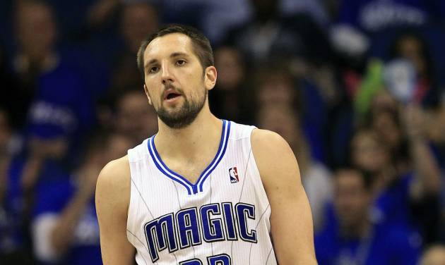 Orlando Magic's Ryan Anderson (33) walks on the court after his team lost possession of the ball to the Indiana Pacers during the second half of Game 3 of an NBA first-round playoff basketball series, Wednesday, May 2, 2012, in Orlando, Fla. Indiana won 97-74. (AP Photo/John Raoux)