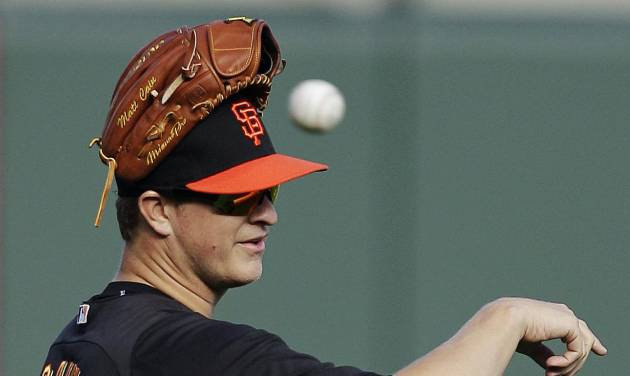 San Francisco Giants pitcher Matt Cain prepares for batting practice in preparation for Game 1 of the National League division baseball series against the Cincinnati Reds, Thursday, Oct. 4, 2012, in San Francisco. Cain will be the Giants starting pitcher in Game 1. (AP Photo/Ben Margot)