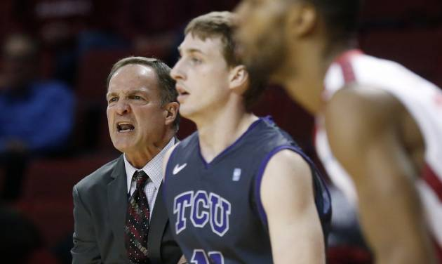 Okahoma head coach Lon Kruger shouts from the bench in the first half of an NCAA college basketball game against TCU in Norman, Okla., Monday, Feb. 11, 2013. (AP Photo/Sue Ogrocki)