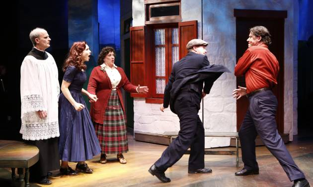 """This theater image released by Shirley Herz Associates shows, from left, David Sitler, Jenny Powers, Kathy Fitzgerald, Ted Koch and James Barbour, in a scene from the musical """"Donnybrook"""", performing off-Broadway at the Irish Repertory Theatre in New York.  (AP Photo/Shirley Herz Associates, Carol Rosegg)"""