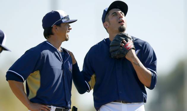 Milwaukee Brewers' Matt Garza, right, jokes around with teammate Kyle Lohse during Brewers MLB spring training baseball practice for pitchers and catchers, Monday, Feb. 17, 2014, in Phoenix. (AP Photo/Ross D. Franklin)