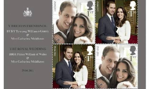 This handout image provided by the US Postal Service shows The Royal Wedding Presentation Pack being sold by the Postal Service. Britain's Royal Mail issued a special commemorative stamp for the wedding and American postal authorities are offering it as part of a wedding commemorative packet. (AP Photo/USPS)