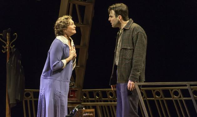 """This theater image released by Jeffrey Richards Associates shows Cherry Jones, left, and Zachary Quinto during a performance of """"The Glass Menagerie."""" The production opens on Sept. 26, 2013 at the Booth Theatre in New York. (AP Photo/Jeffrey Richards Associates, Michael J. Lutch)"""