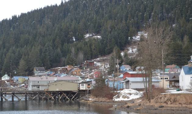 Downtown Hoonah, Alaska, seen here March 19, 2014, is about 1.5 miles from Icy Strait Point, the Huna Totem Corporation-owned facility where the proposed cruise ship and marine vessel dock is to be located. (AP Photo/Mary Catharine Martin, Capital City Weekly via The Juneau Empire)