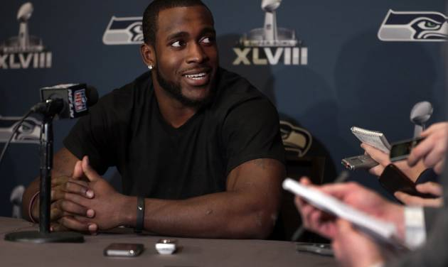 Seattle Seahawks safety Kam Chancellor answers questions during a news conference Monday, Jan. 27, 2014, in Jersey City, N.J. The Seahawks and the Denver Broncos are scheduled to play in the Super Bowl XLVIII football game Sunday, Feb. 2, 2014. (AP Photo/Jeff Roberson)