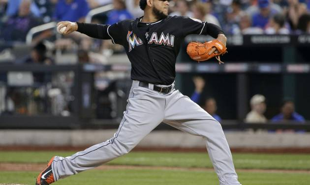 Miami Marlins pitcher Henderson Alvarez delivers against the New York Mets in the fourth inning of a baseball game, Friday, July 11, 2014, in New York. (AP Photo/Julie Jacobson)