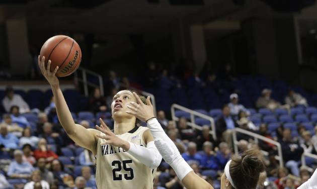 Wake Forest's Dearica Hamby (25) drives past North Carolina's Jessica Washington (24) during the first half of an NCAA college basketball game at the Atlantic Coast Conference tournament in Greensboro, N.C., Thursday, March 6, 2014. (AP Photo/Chuck Burton)