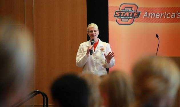 OSU Center for Health Sciences President Kayse Shrum addresses the Operation Orange camp at OSU-Stillwater. (Photo by OSU Center for Health Sciences)