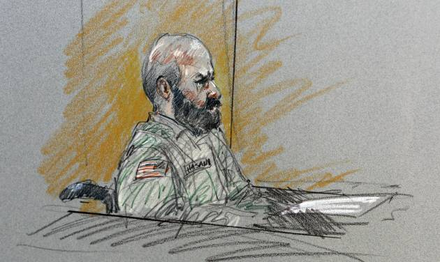 FILE- In this Aug. 6, 2013, file courtroom sketch, Maj. Nidal Malik Hasan sits in court for his court-martial in Fort Hood, Texas. The prosecutors pursuing the death penalty against the Army psychiatrist accused in the 2009 Fort Hood shooting rampage will soon begin trying to answer a difficult but key question_ determining why Hasan attacked his fellow soldiers in the worst mass shooting ever on a U.S. military base. (AP Photo/Brigitte Woosley, File)