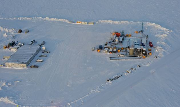 In this 2012 photo provided by ConocoPhillips Alaska Inc., a drill rig at Prudhoe Bay on Alaska's North Slope is seen. This rig is testing a method for extracting methane from methane hydrate. The department describes methane hydrate as a lattice of ice that traps methane molecules but does not bind them chemically. A half mile below the ground at Prudhoe Bay, above the vast oil field that helped trigger construction of the trans-Alaska pipeline, a drill rig has tapped what might one day be the next big energy source. The U.S. Department of Energy and industry partners over two winters drilled into a reservoir of methane hydrate, which looks like ice but burns like a candle as warmth from a match releases methane molecules. (AP Photo/ConocoPhillips Alaska Inc., Garth Hannum)