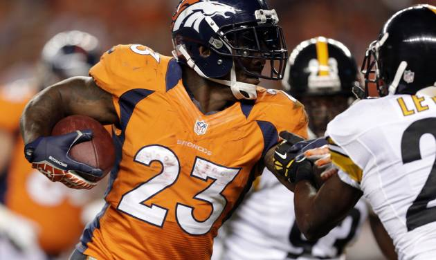 FILE - In this Sept. 9, 2012, Denver Broncos running back Willis McGahee runs against the Pittsburgh Steelers during the fourth quarter of an NFL football game in Denver. McGahee's 32 career 100-yard rushing games are more than any active running back in the NFL. Not bad for a guy that many doubted would even make it to the NFL after he tore three ligaments in his left knee in his final college game at Miami a decade ago. (AP Photo/Joe Mahoney, File)