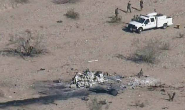 This video framegrab image provided Thursday Feb. 23, 2012 by KPNX-12 News shows an aerial view of a crash site where two U.S. Marine helicopters collided Wednesday over a training site in the desert near Yuma, Ariz. The crash killed seven Marines, in one of the deadliest military training accidents in years.(AP Photo/ KPNX-12 News) MANDATORY CREDIT