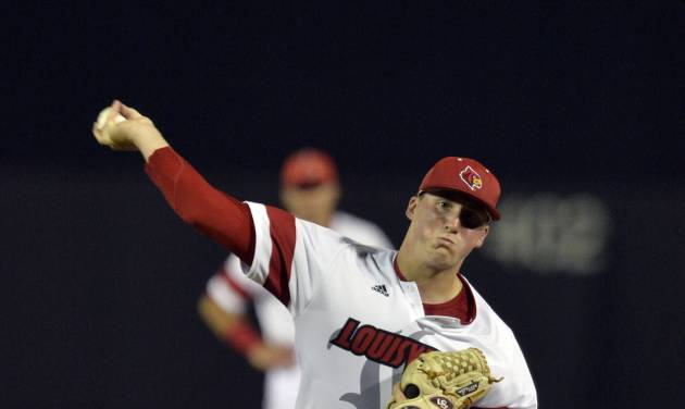Louisville's Kyle Funkhouser throws to a Kent State batter during the fifth inning of an NCAA college baseball tournament regional game in Louisville, Ky., Friday, May 30, 2014. (AP Photo/Timothy D. Easley)