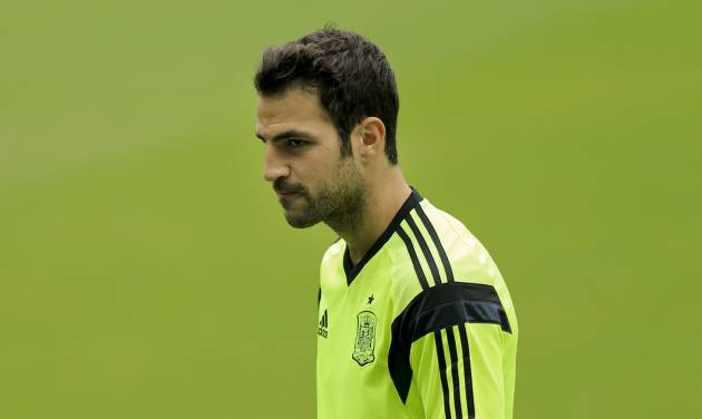 Spain's Cesc Fabregas walks into the pitch during an official training session the day before the group B World Cup soccer match between Spain and the Netherlands at the Arena Ponte Nova in Salvador, Brazil, Thursday, June 12, 2014.  (AP Photo/Bernat Armangue)