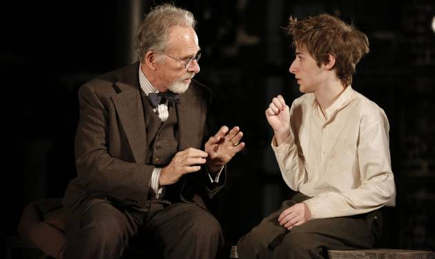 """This theater image released by The Public Theater shows Ron Rifkin, left, and Noah Robbins in """"The Twenty-Seventh Man,"""" running at The Public Theater at Astor place in New York through Dec. 9. (AP Photo/The Public Theater, Joan Marcus)"""