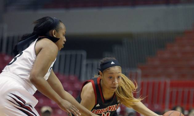 Louisville guard Antonita Slaughter (4) drives against Cincinnati forward Jeanise Randolph (33) during the first half of an NCAA  college basketball game, Saturday, March 1, 2014, in Cincinnati. (AP Photo/David Kohl)
