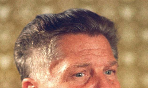 FILE - In this June 3, 1974 file photograph, teamsters president Jimmy Hoffa is shown in Washington. The Teamsters leader was last seen in July 1975 at a restaurant in Oakland County's Bloomfield Township in Michigan. Federal agents revived the hunt for the remains of Jimmy Hoffa on Monday June 17, 2013, digging around in a suburban Detroit field where a reputed Mafia captain says the Teamsters boss' body was buried. (AP Photo, File)