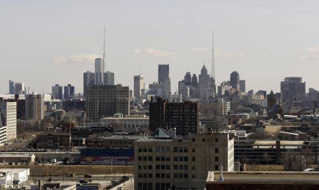 FILE - This March 14, 2013 file photo shows the skyline of the city of Detroit. In a report released late Sunday, May 12, 2013, Kevyn Orr, the city's state-appointed emergency manager, said Detroit is broke and faces a bleak future given the precarious financial path it's on. It was his first report on Detroit's finances since taking the job in March. (AP Photo/Paul Sancya, File)