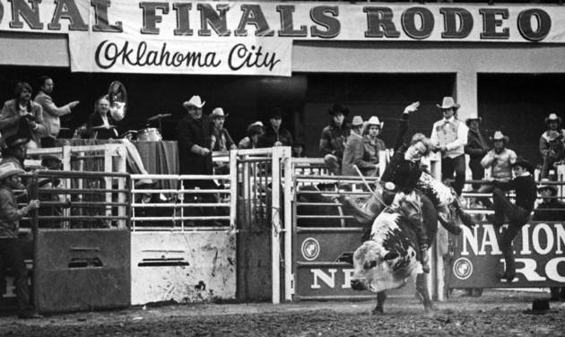 Bull rider Donnie Gay competes at the National Finals Rodeo. Photo by The Oklahoman Archive
