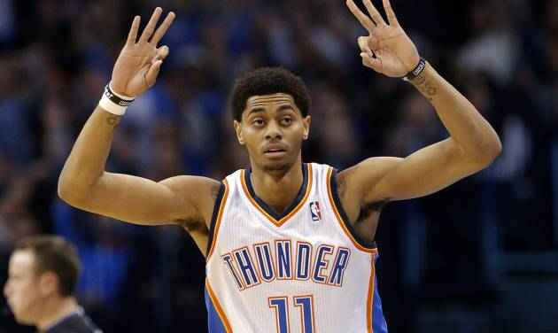 Oklahoma City's Jeremy Lamb (11) celebrates a three-point basketduring the NBA game between the Oklahoma City Thunder and the Indiana Pacers at the Chesapeake Energy Arena, Sunday, Dec. 8, 2013. Photo by Sarah Phipps, The Oklahoman