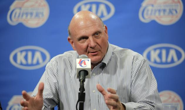FILE - In this Aug. 18, 2014 file photo, new Los Angeles Clippers owner Steve Ballmer speaks during a news conference held after the Clippers Fan Festival in Los Angeles. Ballmer is stepping down from Microsoft's board, bringing to a close 34 years with the software giant. He says he plans to devote more time to his ownership of the Clippers, civic contributions, teaching and study. (AP Photo/Jae C. Hong, File)