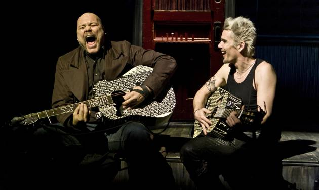 "This undated theater image released by Seven17 Public Relations shows Vincent D'Onfrio, left, and Ethan Hawke, in a scene from ""Clive"", a production by The New Group performing off-Broadway at Theatre Row in New York. (AP Photo/Seven17 PR, Monique Carboni)"